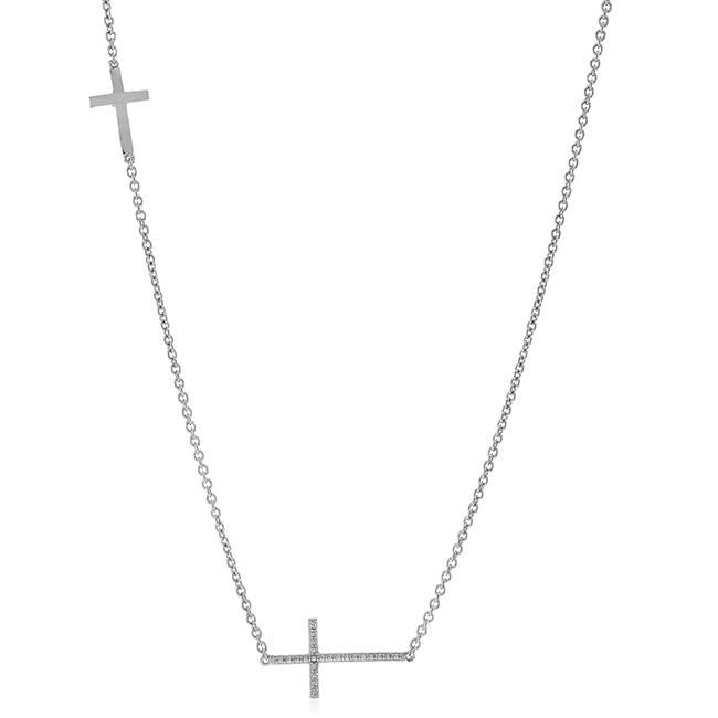 "0.12 Carat Diamond Sideways Cross Pendant in Sterling Silver with 18"" Chain"