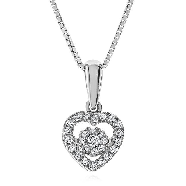 1/5 Carat Diamond Dancing Cluster Heart Pendant in Sterling Silver - 18""