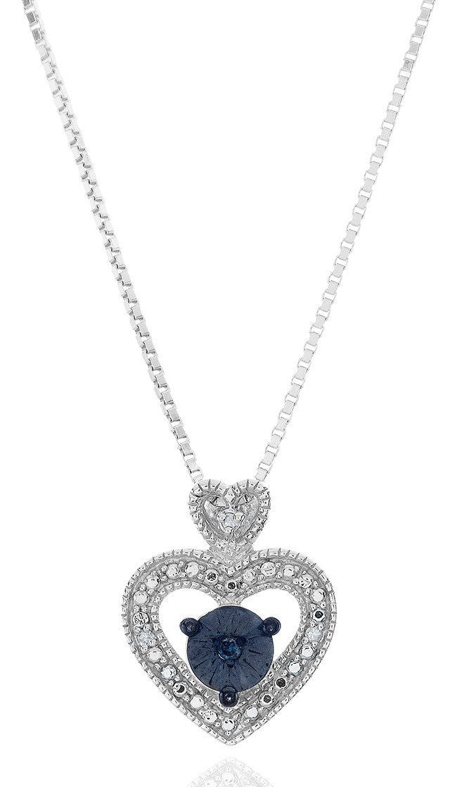 Diamond Miracles: Blue & White Diamond Heart Pendant in Sterling Silver with Chain