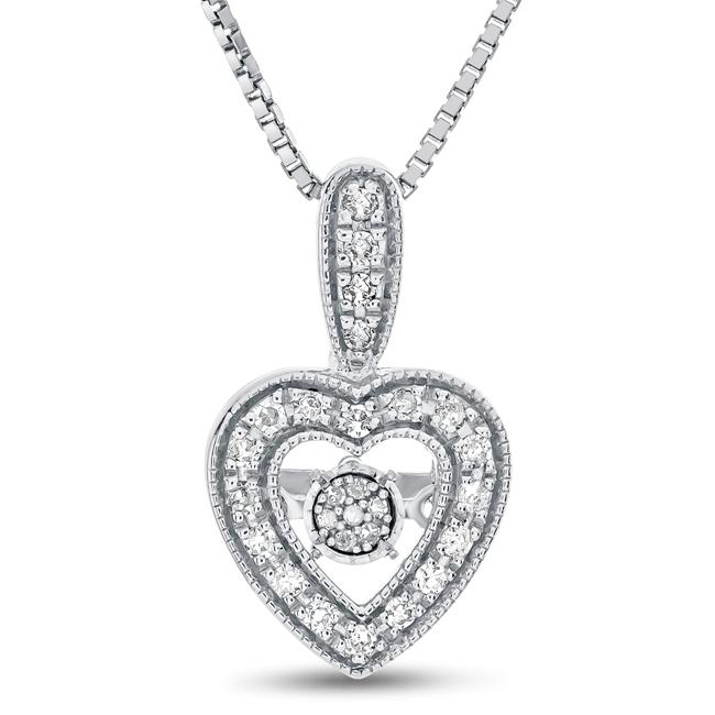 1/6 Carat Diamond Heart Pendant in Sterling Silver - 18""
