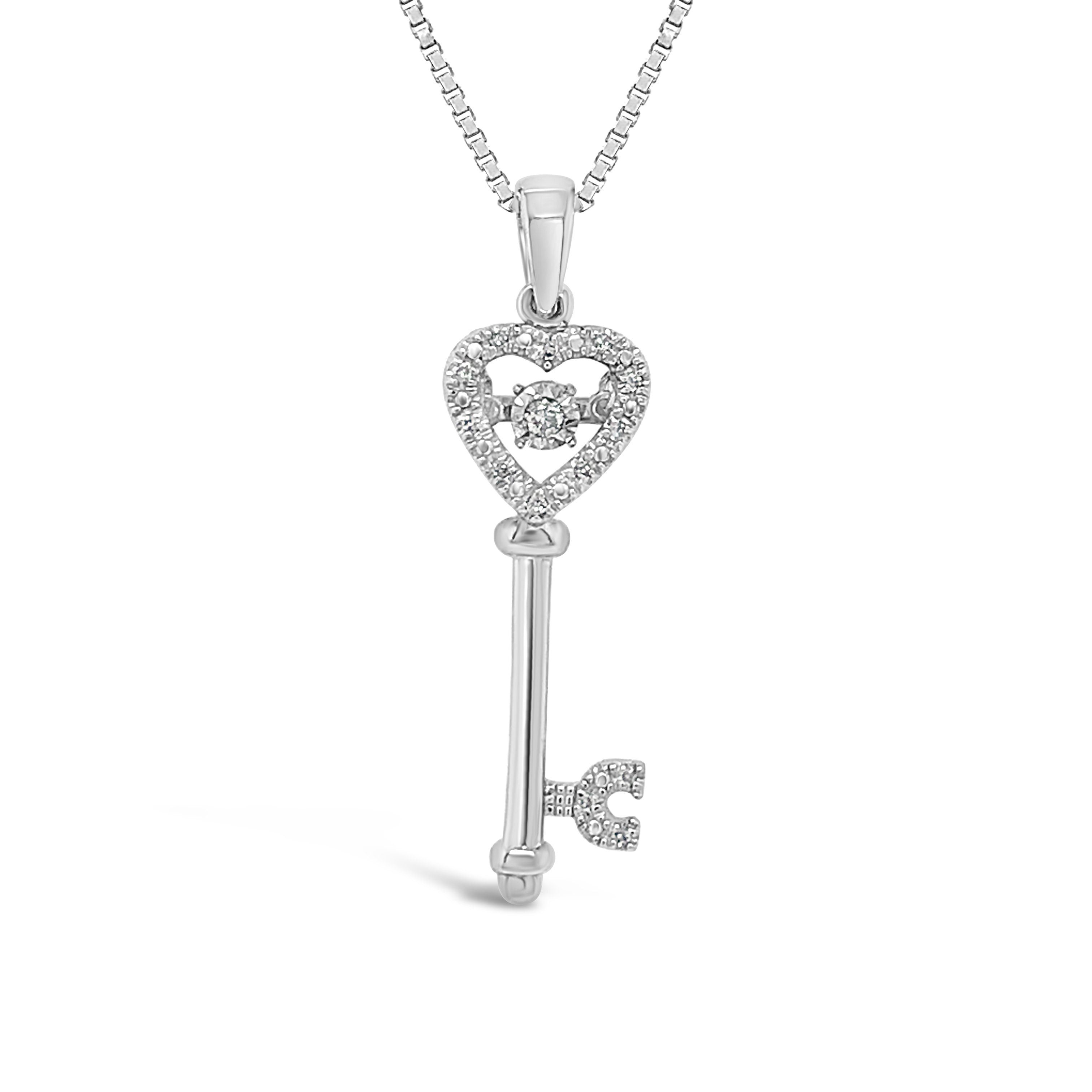 Diamond Miracles: Diamond Accent Heart Key Pendant in Sterling Silver with Chain