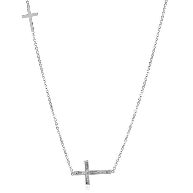 "0.10 Carat Diamond Sideways Cross Pendant in Sterling Silver with 18"" Chain"