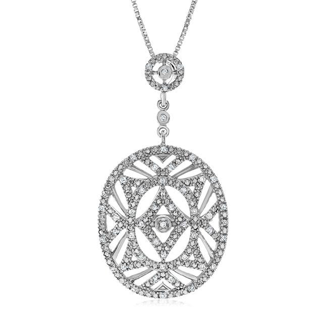 "0.25 Carat Diamond Pendant in Sterling Silver with 18"" Chain"