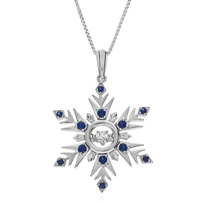 Created Blue & White Sapphire Dancing Snowflake Pendant in Sterling Silver - 18""
