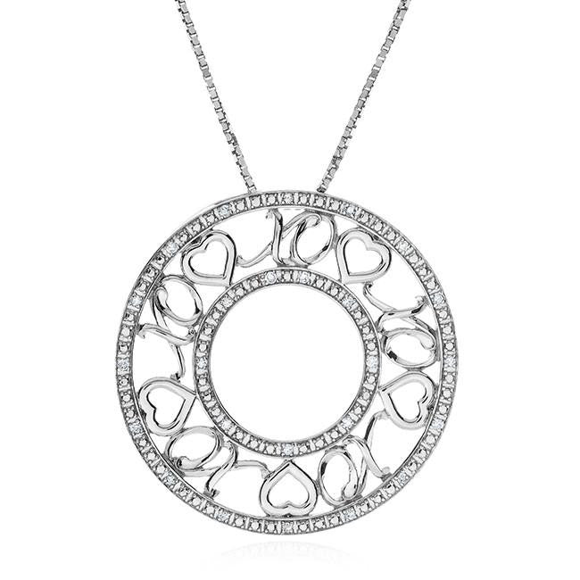 0.10 Carat Diamond Hugs & Kisses Circle Pendant in Sterling Silver with Chain