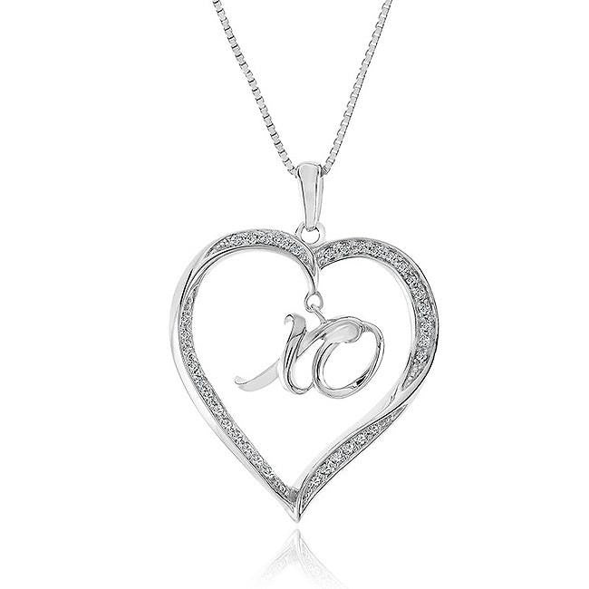 1/4 Carat Diamond XO Dangle Heart Pendant in Sterling Silver with Chain