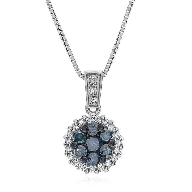 1/2 Carat Blue & White Diamond Cluster Pendant in Sterling Silver - 18""