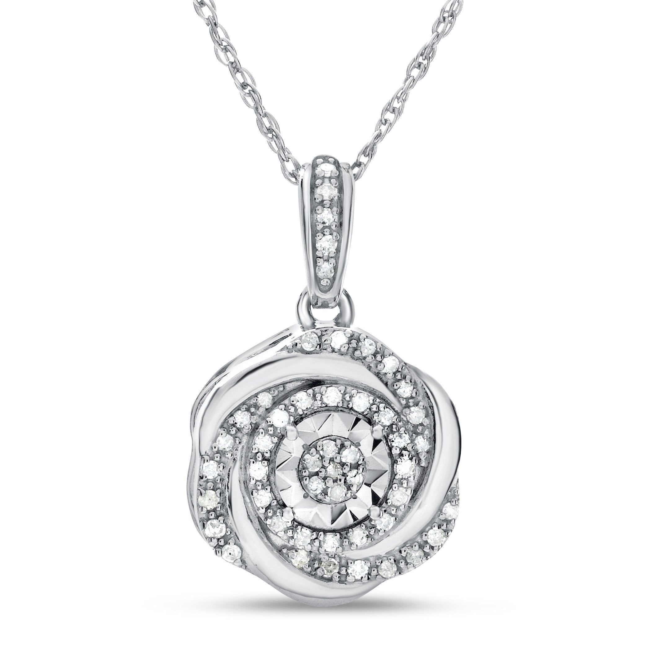 Shop dazzling diamond pendants necklaces at netaya 110 carat diamond flower pendant in sterling silver with chain aloadofball