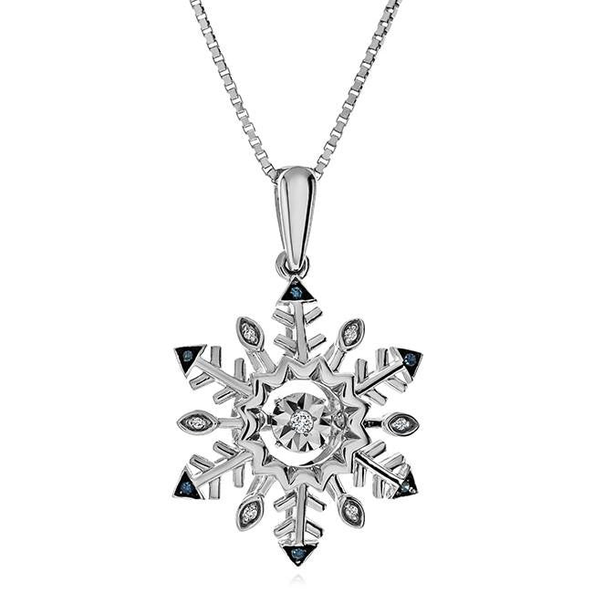 Blue & White Diamond Accent Snowflake Pendant in Sterling Silver - 18""