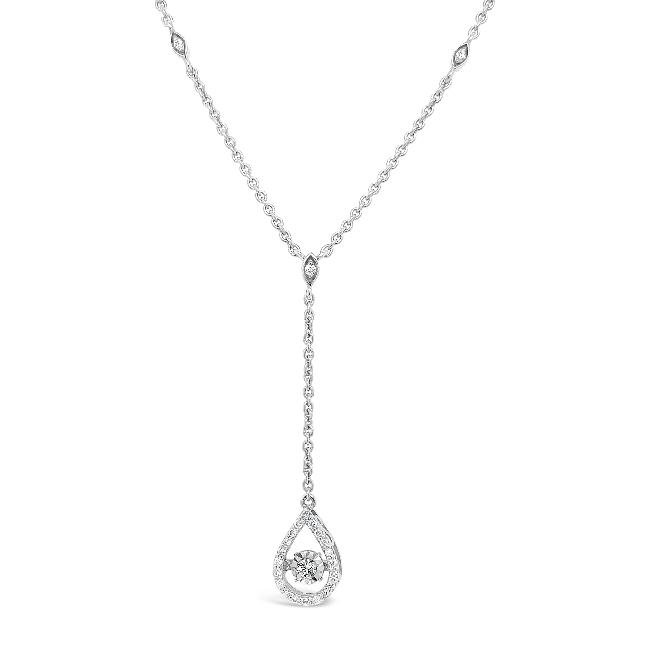 1/5 Carat Diamond Teardrop Y Necklace in Sterling Silver