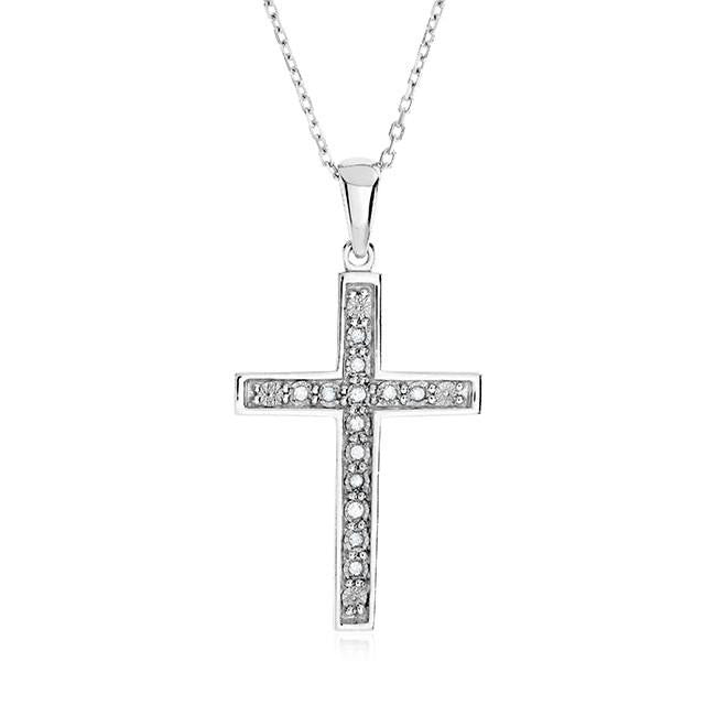 "0.10 Carat Diamond Cross Pendant in Sterling Silver with 18"" Chain"