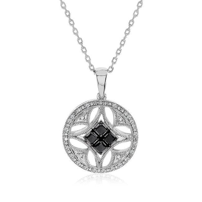 1/3 Carat Black & White Diamond Medallion Necklace in Sterling Silver