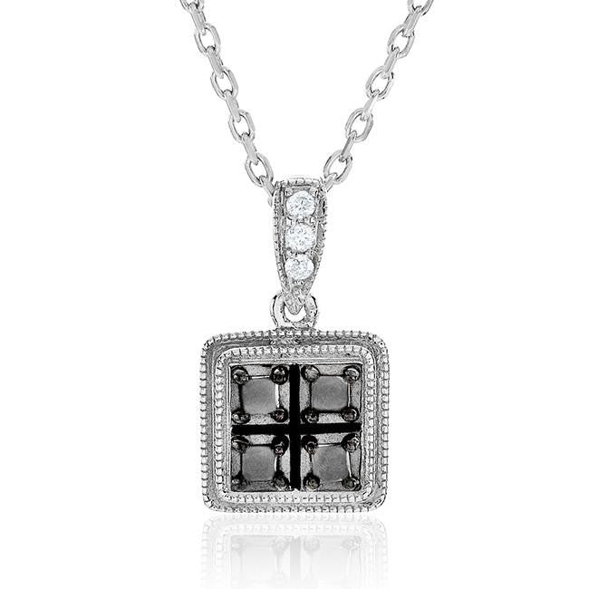 "0.16 Carat Black & White Diamond Princess Pendant in Sterling Silver with 18"" Chain"