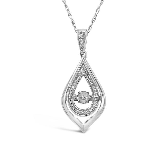 Diamond Accent Teardrop Pendant in Sterling Silver - 18""