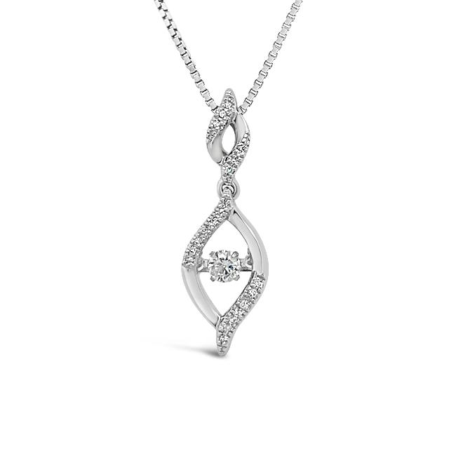 1/6 Carat Diamond Pendant in Sterling Silver - 18""