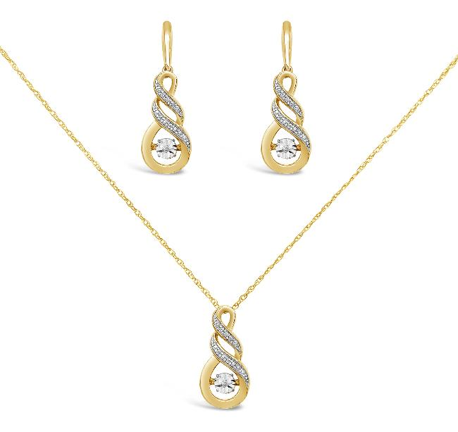 Diamond Accent Infinity Earrings & Pendant Set in Gold-Plated Sterling Silver - 18""