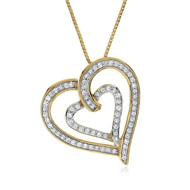"0.50 Carat Diamond Heart Pendant in Two-Tone Sterling Silver with 18"" Chain"