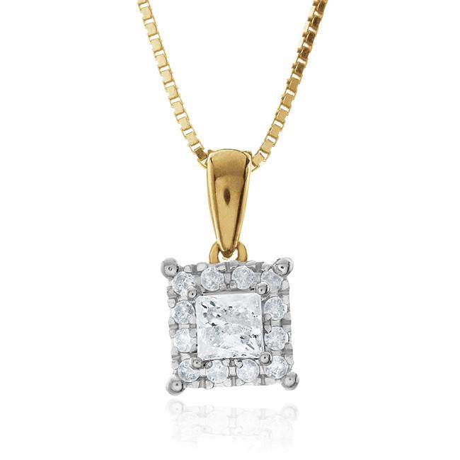 "Endless Harmony: 0.50 Carat Diamond Pendant in Yellow Gold-Plated Sterling Silver with 18"" Chain"