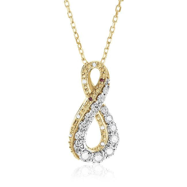 "0.10 Carat Diamond Infinity Pendant in Gold-Plated Sterling Silver with 18"" Chain"