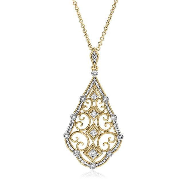 "Diamond Miracles: 0.08 Carat Diamond Pendant in Gold-Plated Sterling Silver with 18"" Chain"