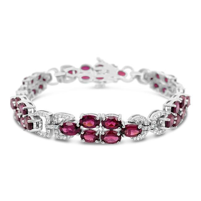13.00 Carat Genuine Rhodolite & White Zircon Bracelet in Sterling Silver - 7""