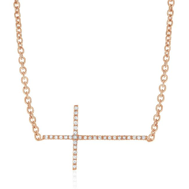 0.10 Carat Diamond Stackable Necklace in 14K Rose Gold Over Silver - 19""