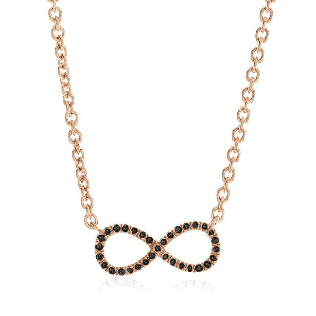 0.10 Carat Black Diamond Stackable Necklace in 14K Rose Gold Over Silver - 19""