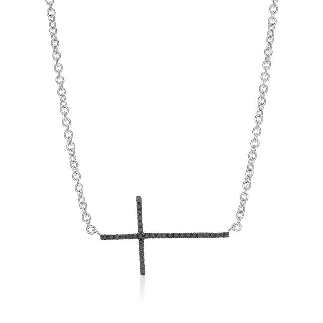 0.10 Carat Black Diamond Stackable Necklace in Sterling Silver - 19""