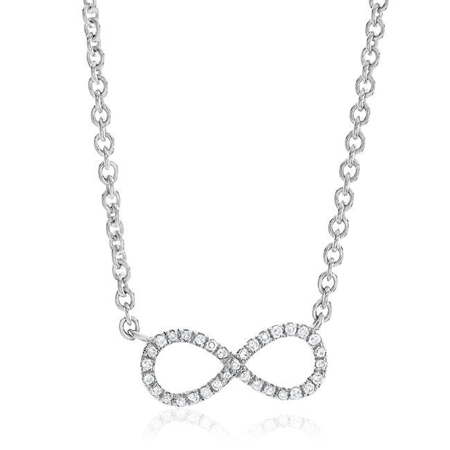 0.10 Carat Diamond Infinity Necklace in Sterling Silver - 19""