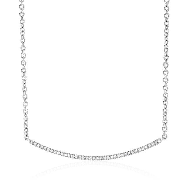 0.10 Carat Diamond Stackable Necklace in Sterling Silver - 19""