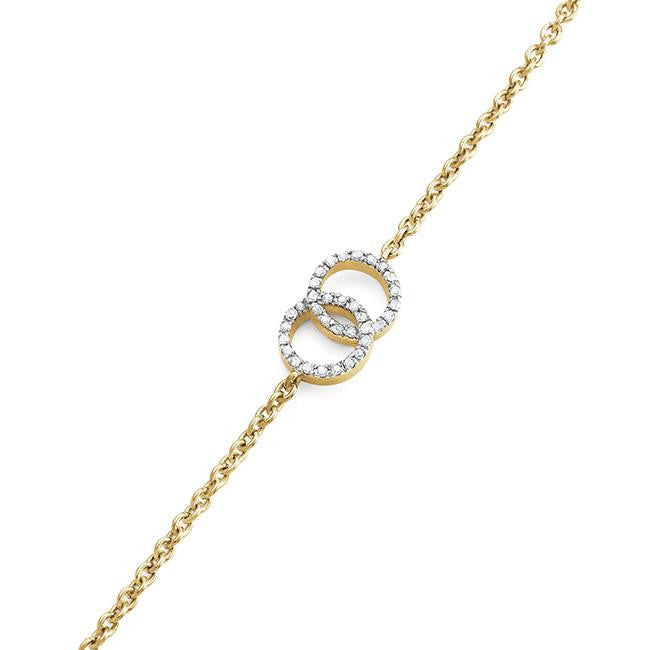 0.10 Carat Diamond Stackable Bracelet in 14K Yellow Gold Over Silver with Adjustable Jump Rings