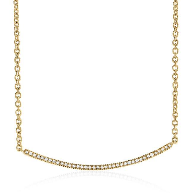 0.10 Carat Diamond Stackable Necklace in 14K Yellow Gold Over Silver - 19""