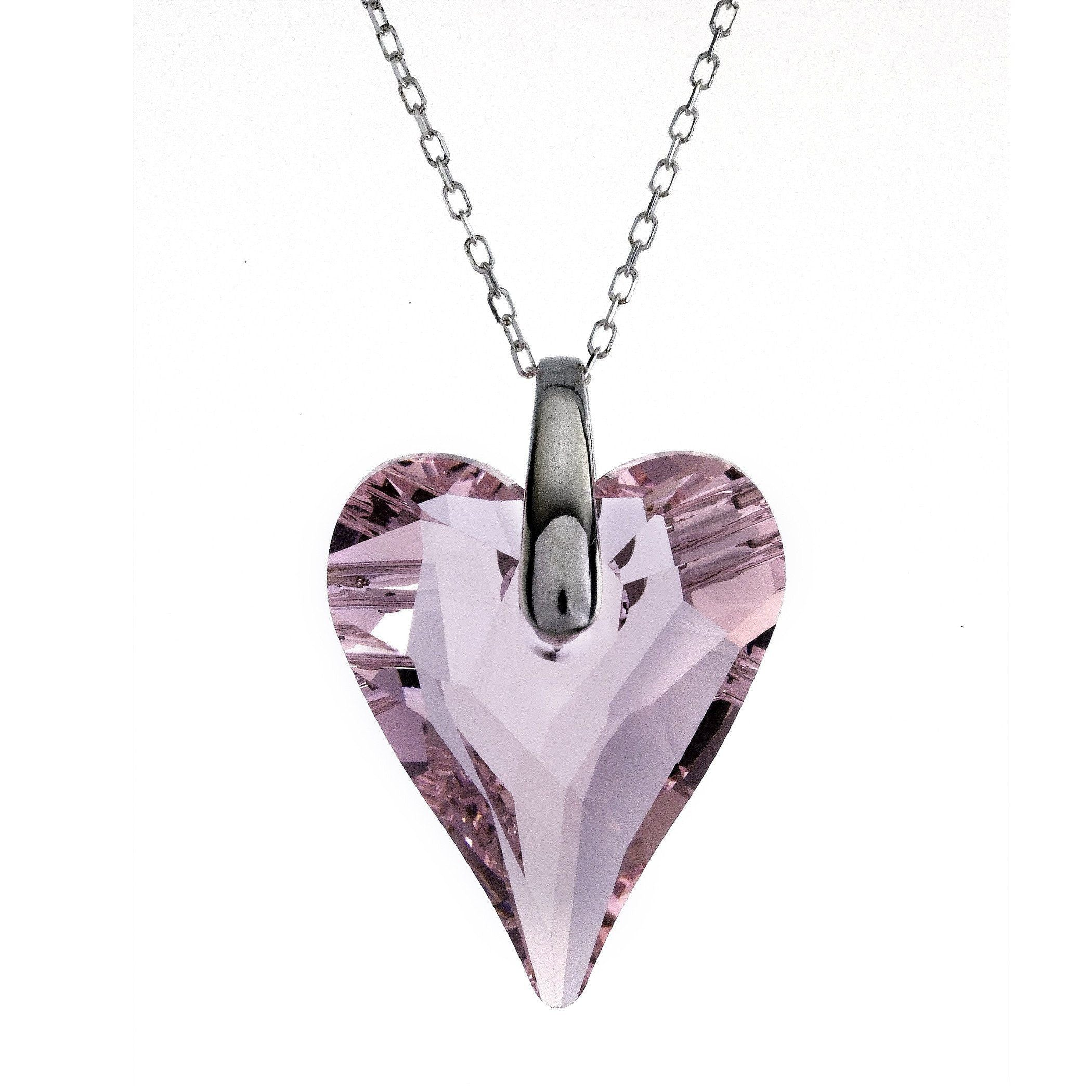 "Swarovski Pink Crystal Heart Pendant with 18"" Sterling Silver Chain"
