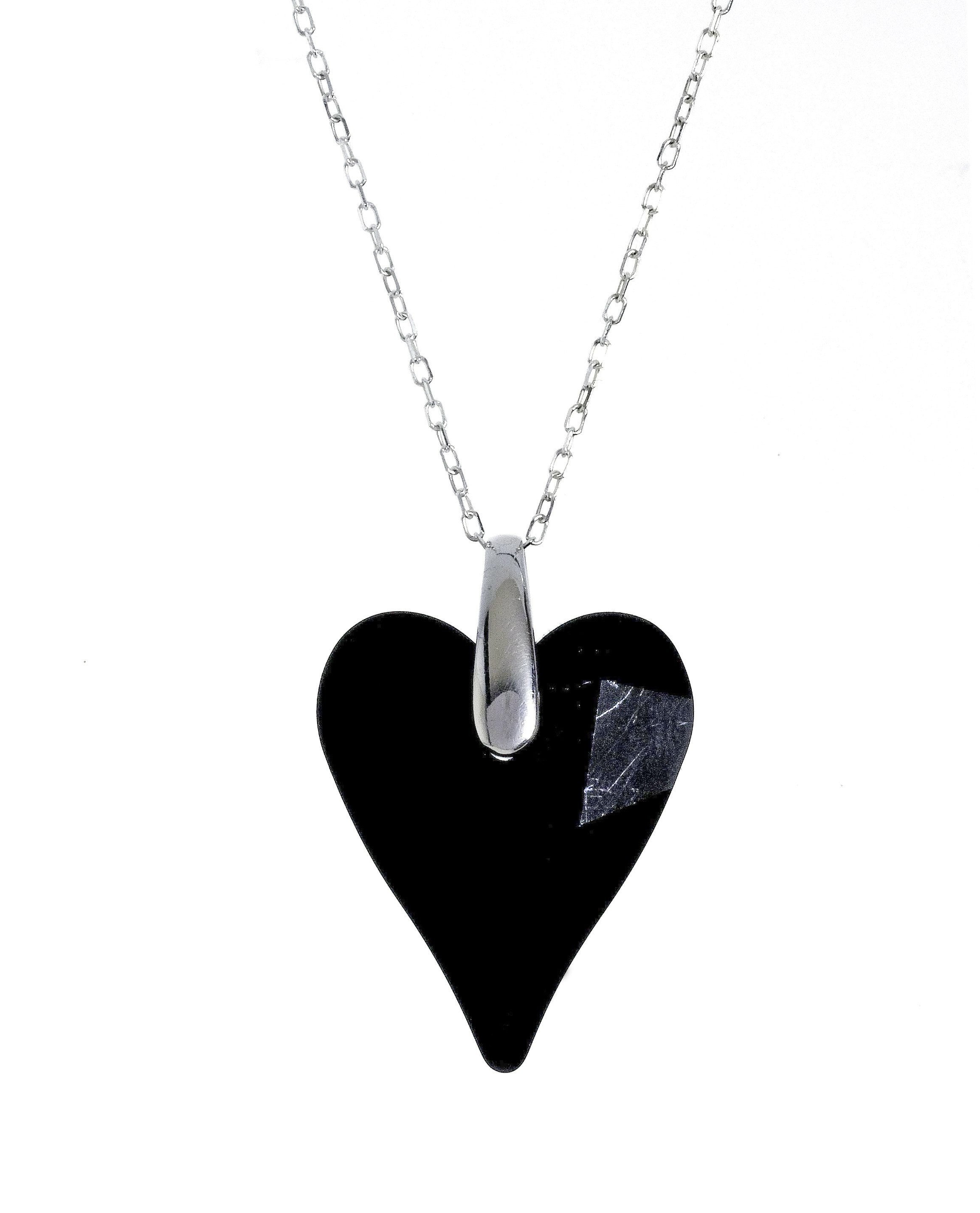 "Swarovski Black Crystal Heart Pendant with 18"" Sterling Silver Chain"