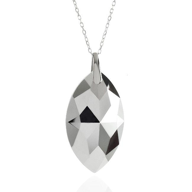 "Swarovski Crystal Marquise Pendant with Sterling Silver 18"" Chain"
