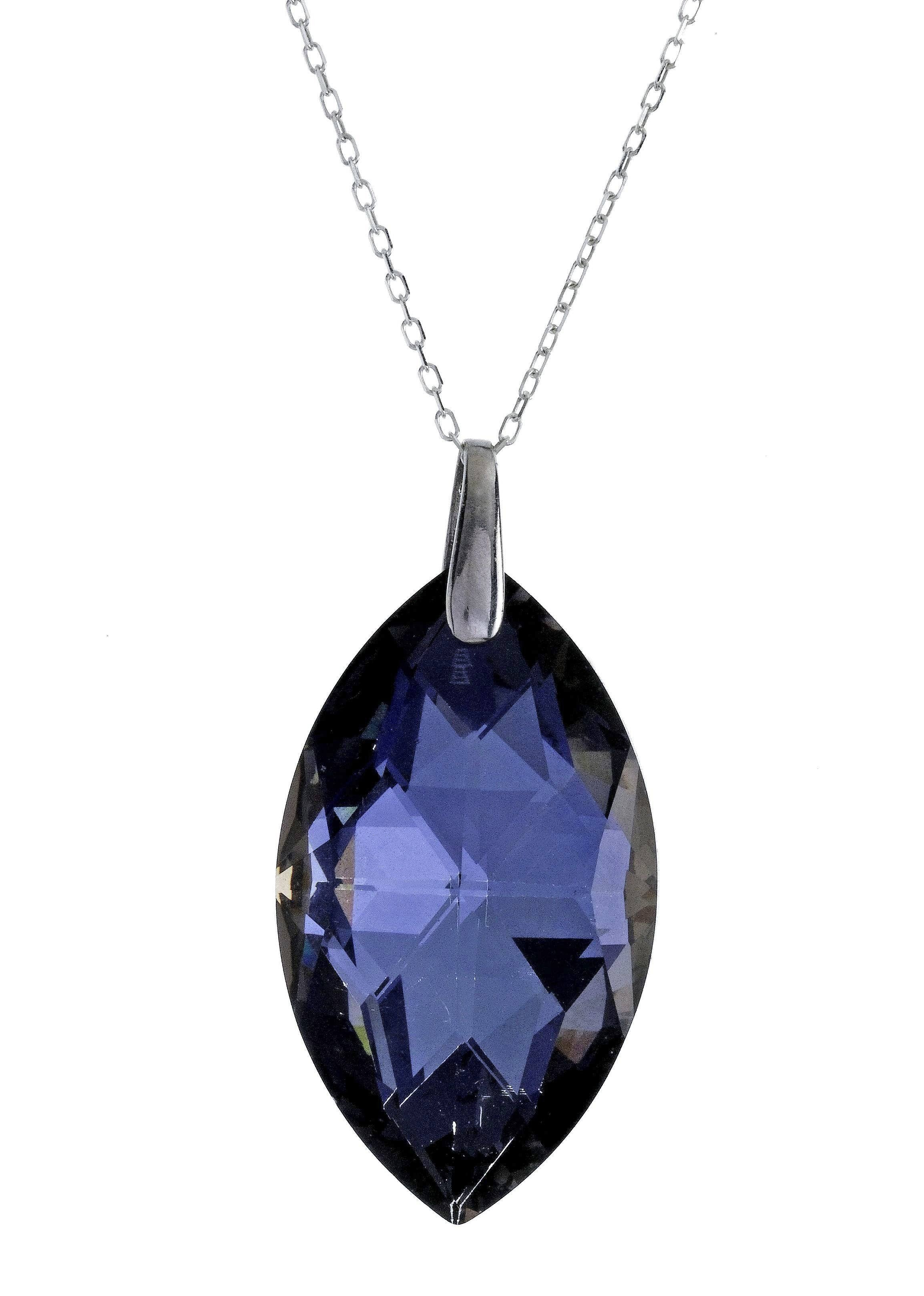 "Swarovski Gray/Blue Crystal Pendant with 18"" Sterling Silver Chain"