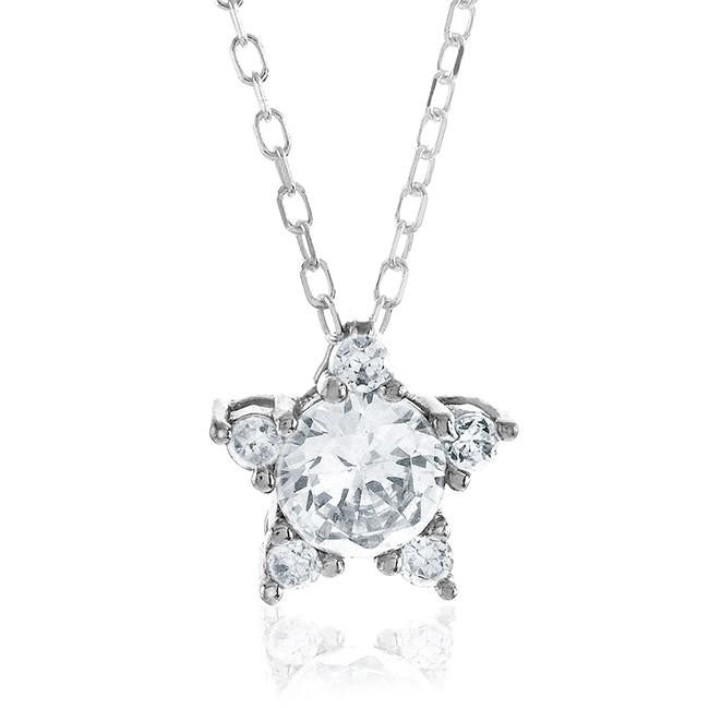 "White Cubic Zirconia Star Pendant in Sterling Silver with 18"" Chain"