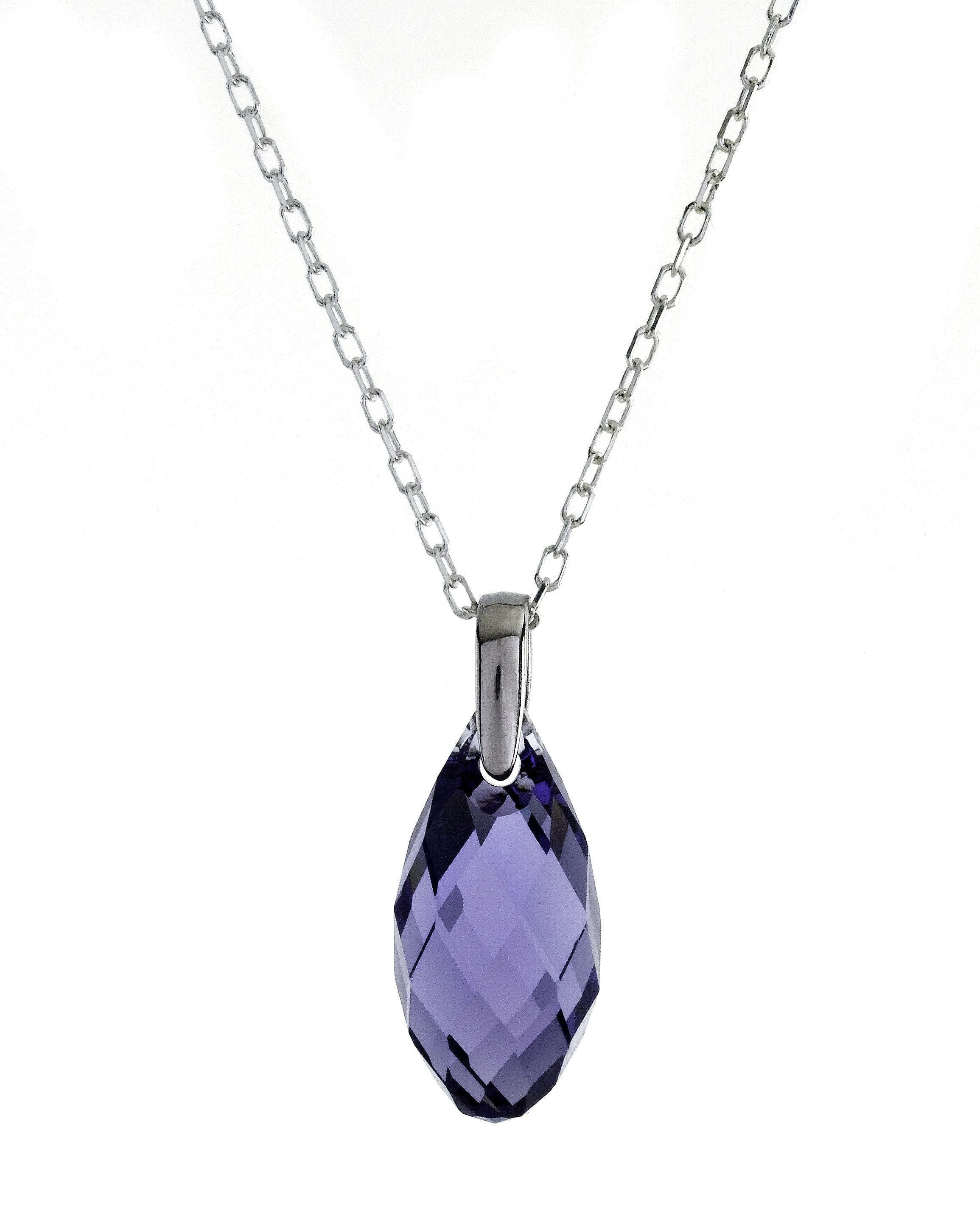 "Swarovski Violet Crystal Pendant with 18"" Sterling Silver Chain"