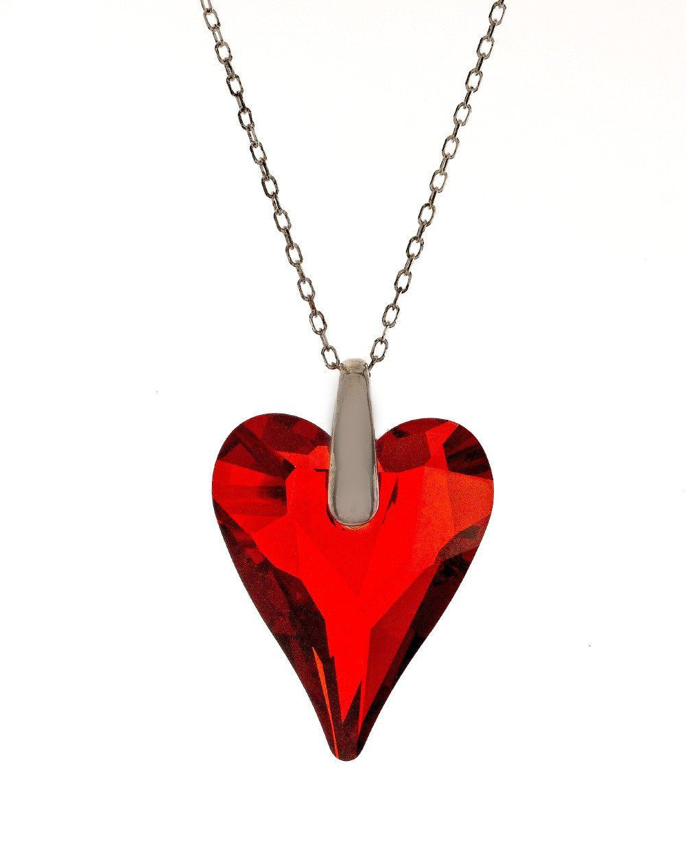 "Swarovski Red Crystal Heart Pendant with 18"" Sterling Silver Chain"