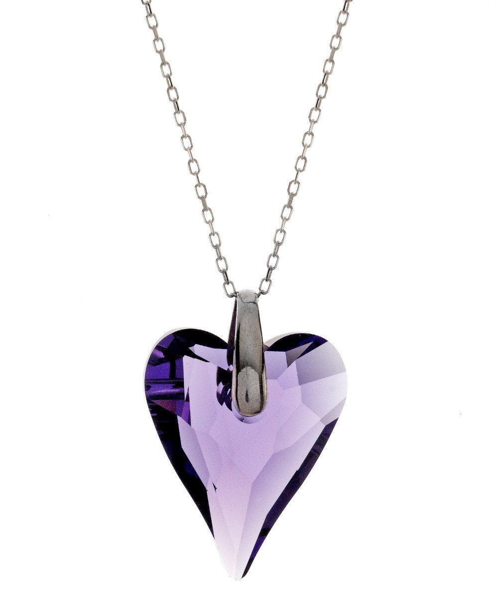 "Swarovski Violet Crystal Heart Pendant with 18"" Sterling Silver Chain"