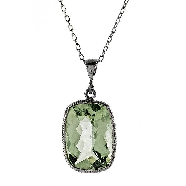 "11.00 Carat Chateau Montreal Genuine Green Amethyst Pendant in Sterling Silver with 18"" Chain"