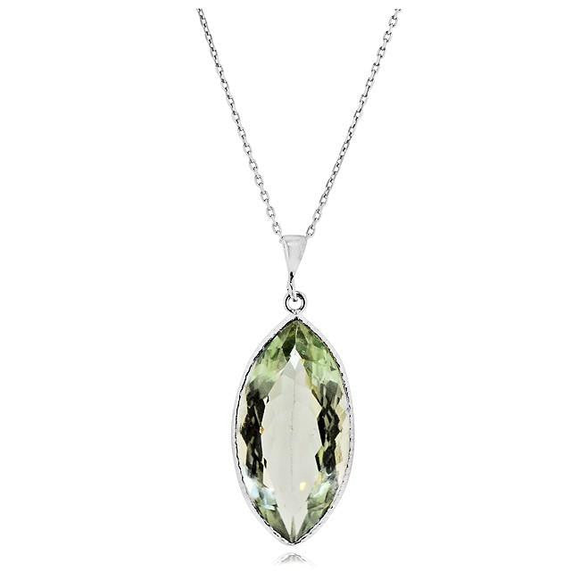 "17.00 Carat Chateau Montreal Genuine Green Amethyst Marquise Pendant in Sterling Silver with 18"" Chain"