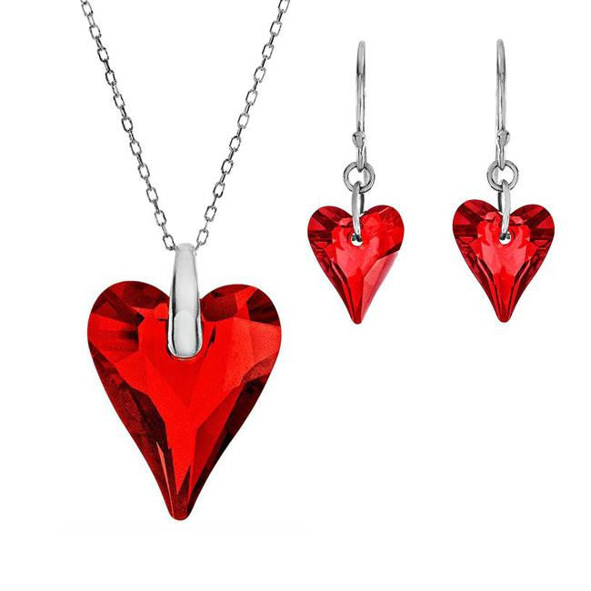 Swarovski Crystal Heart Pendant and Earrings Set in Sterling Silver