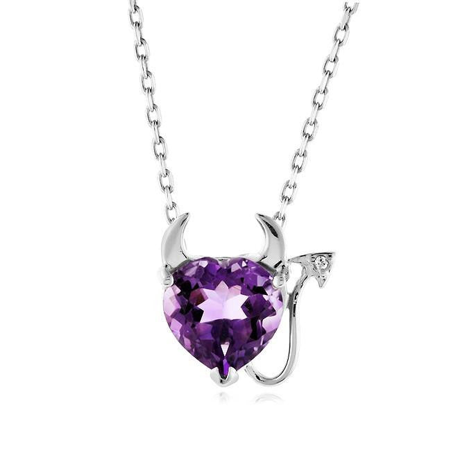 1.65 Carat Amethyst & White Sapphire Devil Heart Pendant in Sterling Silver with Link Chain