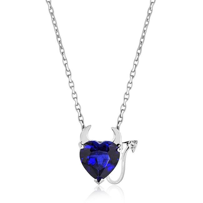2.00 Carat Blue & White Sapphire Devil Heart Pendant in Sterling Silver with Link Chain