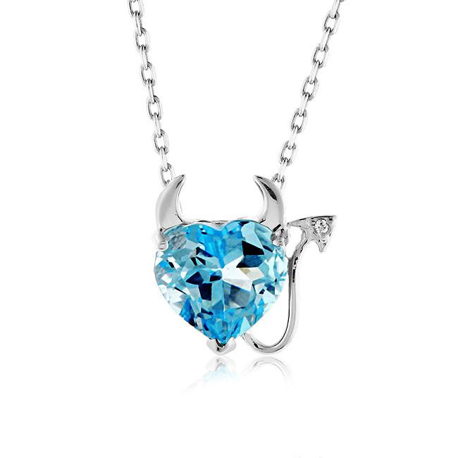 2.25 Carat Blue Topaz & White Sapphire Devil Heart Pendant in Sterling Silver with Link Chain