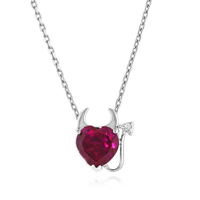 2.00 Carat Ruby & White Sapphire Devil Heart Pendant in Sterling Silver with Link Chain