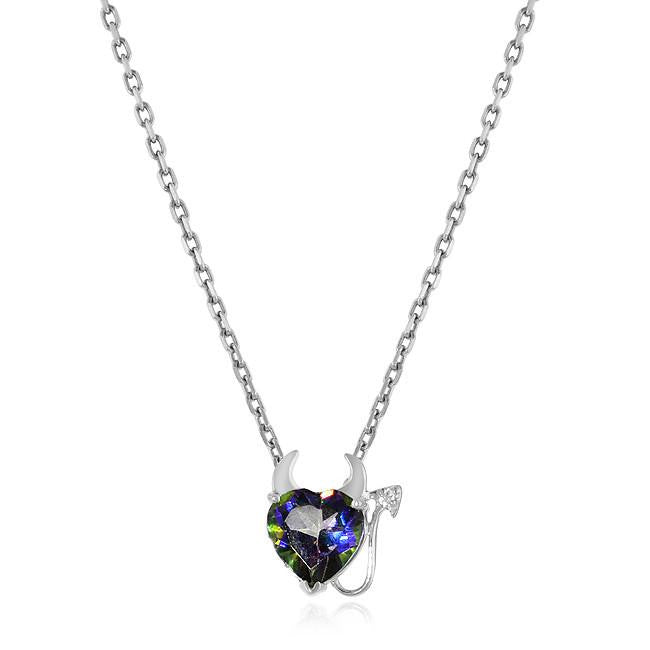 2.25 Carat Green Mystic & White Sapphire Devil Heart Pendant in Sterling Silver