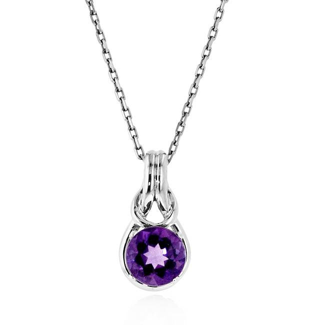 1.25 Carat Amethyst 'Everlasting Love Knot' Pendant in Sterling Silver - 18""
