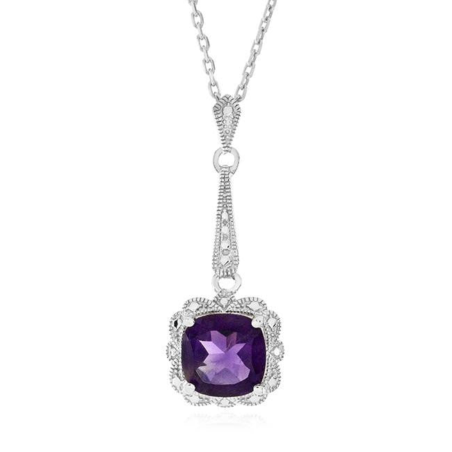 1.40 Carat Amethyst Pendant with Diamond Accents in Sterling Silver with Chain